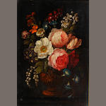German School, early 19th Century Still lifes of flowers in classical urns