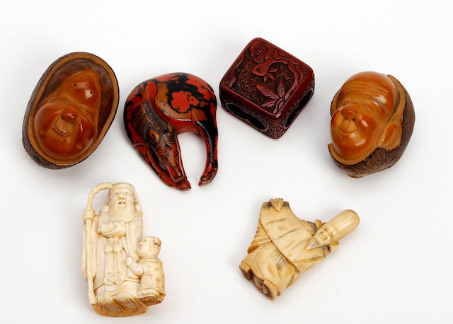 A collection of Japanese carved netsuke 19th Century