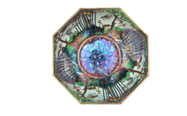 Daisy Makeig-Jones for Wedgwood 'Woodland Elves VIII - Boxing Match' a Fairyland Lustre Octagon Bowl, circa 1918