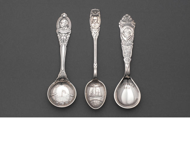 AMUNDSEN (ROALD) Three Norwegian silver spoons, commemorating various events from Amundsen's career as a polar explorer, including his arrival at the South Pole, various sizes