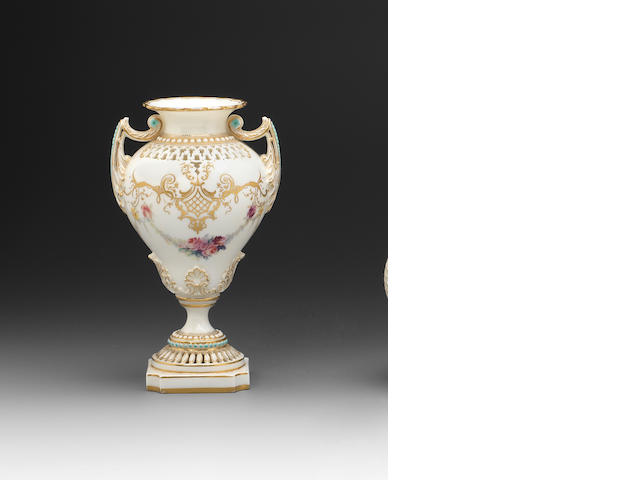A Royal Worceseter vase by George Owen and Harry Chair, dated 1897