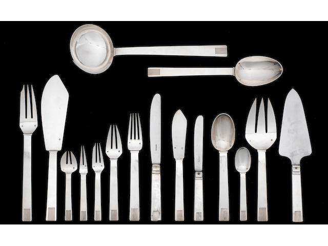 Henri Lapparra Canteen of Silver Cutlery circa 1930  comprising twelve place settings of ten items (two teaspoons & one fish fork missing) and six serving pieces (123 pieces in total)  stamped maker's mark and French silver mark