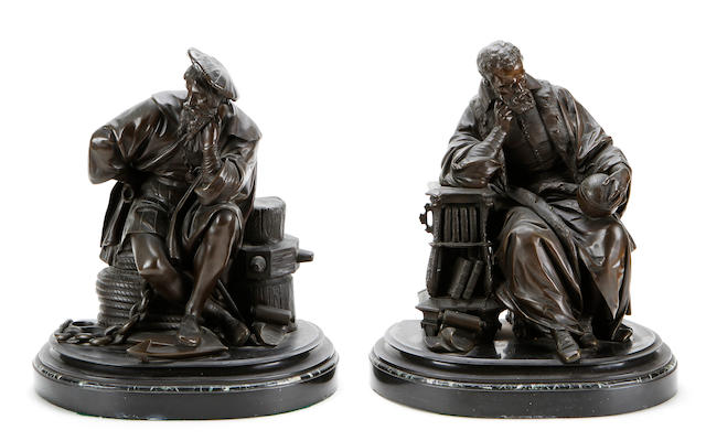 A pair of late 19th century French bronze figures of an Explorer and an Astronomerprobably Galileo and Sir Francis Drake
