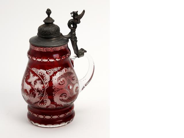 A Bohemian overlay glass stein or tankard  Circa 1880-1900