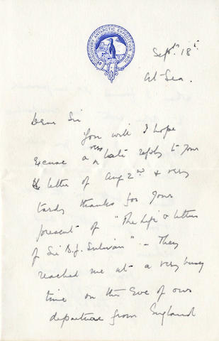 "SCOTT (ROBERT FALCON) Autograph letter signed ""R.F. Scott"", probably to Henry Sulivan"