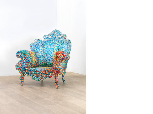 Alessandro Mendini for Studio Alchymia Poltrona di Proust designed in 1978 and executed 1981  hand painted Eighteenth Century style armchair  Height: 109 cm.                42 15/16 in.