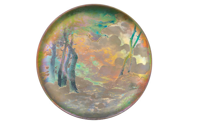 Clement Massier a Metallic Stoneware Charger with Landscape, circa 1895
