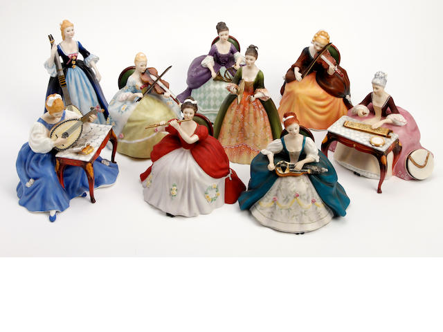 Figurines A collection of nine Royal Doulton limited edition 'Lady Musicians' figures