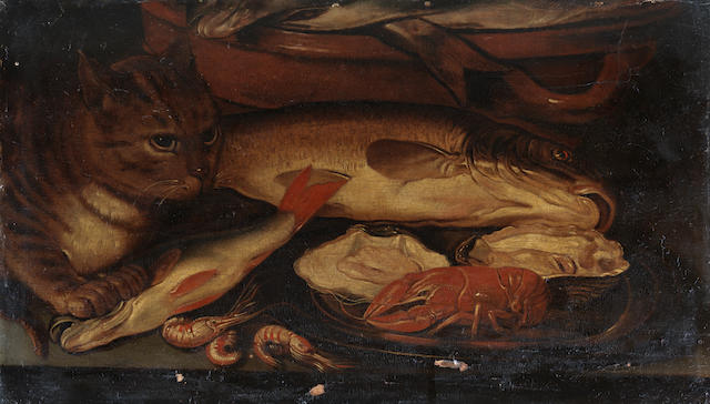 After Clara Peeters, 17th Century A cat before an earthenware bowl of fish
