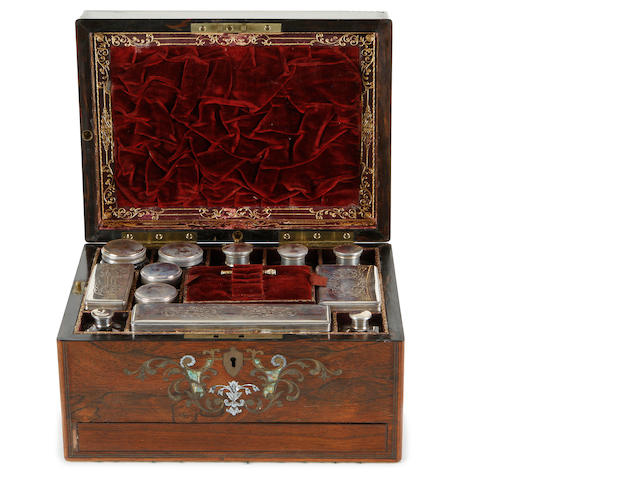 A Victorian rosewood, mother of pearl and abalone inlaid toilet box