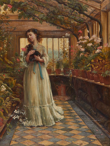 George Goodwin Kilburne, RI, RBA (British, 1839-1924) In the greenhouse