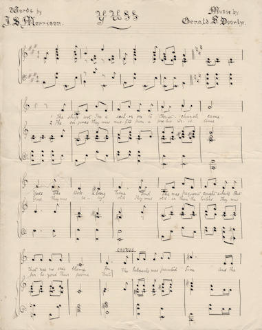 "SONGS OF THE MORNING. Yuss""; ""The North Land"", words by J.D. Morrison and music by Gerald S. Doorly, manuscript on paper, [1902]"