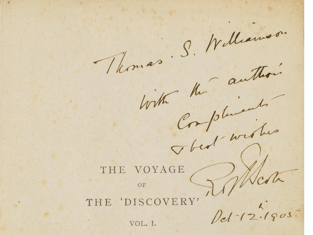 SCOTT (Captain ROBERT FALCON) The Voyage of the 'Discovery', vol. 1 (of 2), AUTHOR'S PRESENTATION COPY TO THOMAS S. WILLIAMSON, 1905