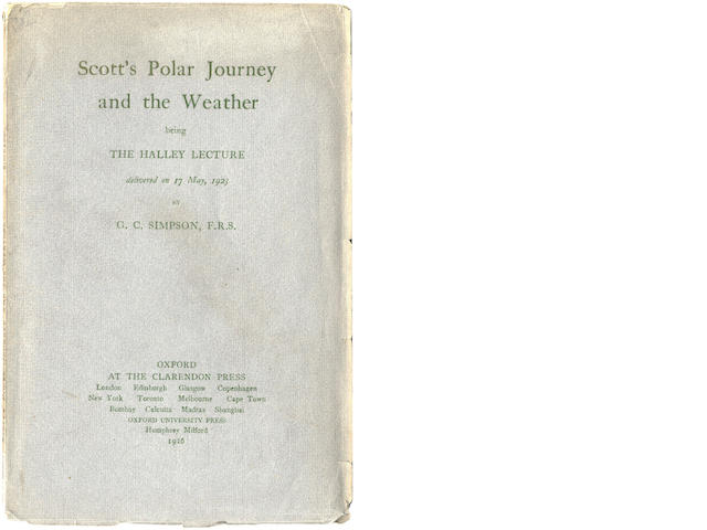 SIMPSON (GEORGE CLARKE) Scott's Polar Journey and the Weather, FIRST EDITION, Clarendon Press, 1926