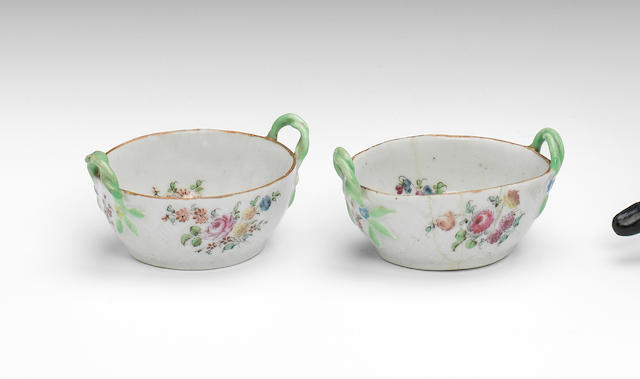 A rare pair of West Pans miniature baskets, circa 1764-70