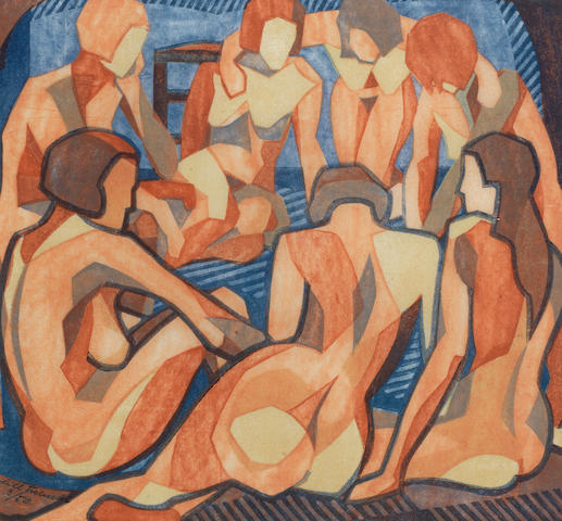 Lill Tschudi (Swiss, 1911-2001) Nudes (LT 30) Lincout printed in cobalt blue, yellow ochre, pale reddish brown, darker reddish brown and dark blue, 1933, a strong, vibrant impression, on thin off-white oriental laid paper, signed and numbered 3/50 in pencil, 255 x 275mm (10 x 10 3/4in) (I)