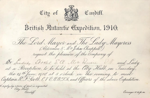 "CARDIFF RECEPTION ""City of Cardiff. British Antarctic Expedition, 1910. The Lord Mayor... Request the pleasure of the Company of [in ink Leading Stoker E.A. McKenzie, R.N] .... at a Reception, 1910; and 2 other invitations (3)"