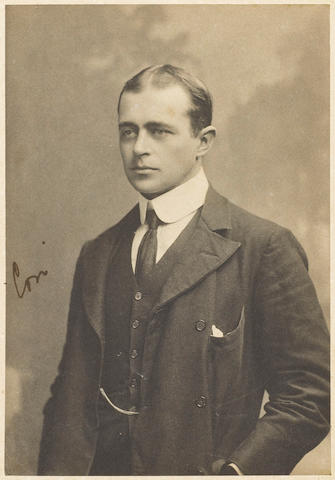 "SCOTT (ROBERT FALCON) A portrait signed ""Con"" in ink on the image, [c.1900]; together with a portrait of Scott in Naval uniform signed in facsimilie (2)"