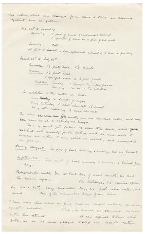 LEVICK (GEORGE MURRAY) Autograph manuscript describing the physical and mental challenges posed by the unexpected overwintering of the Northern Party in the ice cave on Inexpresssible Island, and Levick's role in understanding and managing the diet and symptoms suffered by the party