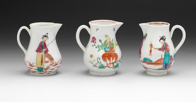 Three Worcester sparrow beak cream jugs