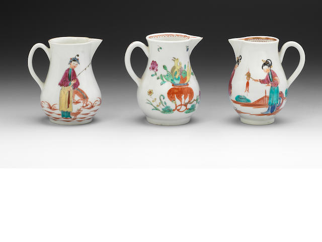 Three Worcester sparrow beak cream jugs