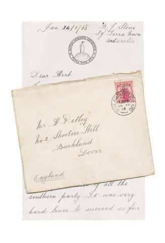 STONE (BERNARD, Leading Stoker R.N.), S.Y. Terra Nova, Antarctica, 24 Jan 1913