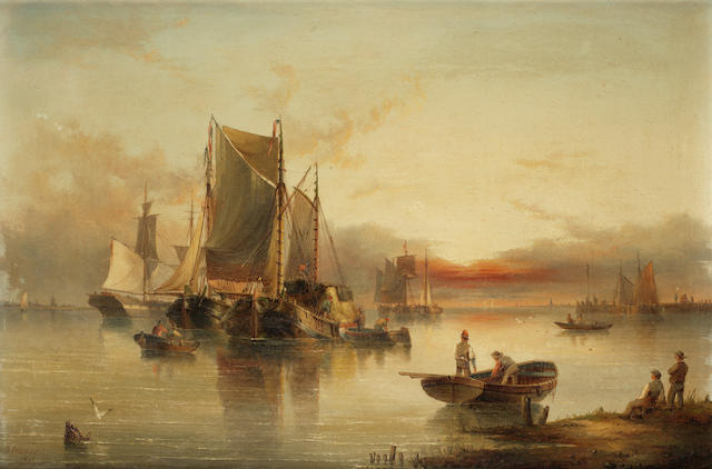 Henry Redmore (British, 1820-1887) Shipping becalmed in an estuary at dusk