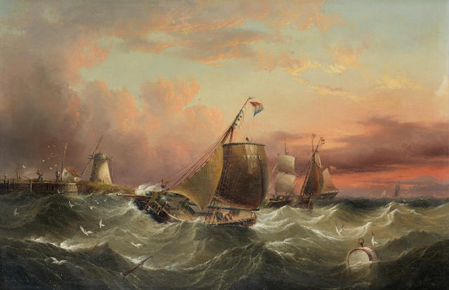 Henry Redmore (British, 1820-1887) The Texel pilot boat (No. 10) and other vessels off the mouth of a small harbour