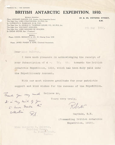 SCOTT (ROBERT FALCON) Reciept signed, with autograph note, 1910