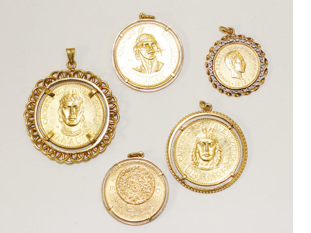A colletion of coin pendants, (5)
