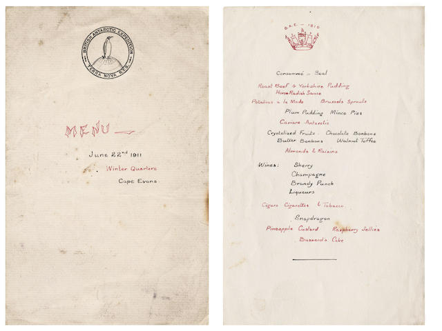 "TERRA NOVA ""Menu - June 22nd 1911. Winter Quarters. Cape Evans"""