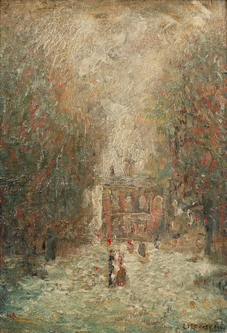 "Lawrence Stephen Lowry ""Romantic landscape"" figures in an avenue before a detached residence"