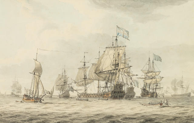 Dominic Serres (1722-1793) A Squadron of the Fleet making ready to sail, probably from Spithead, the ships' captains being rowed to the flagship to receive their orders