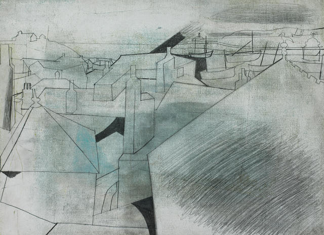 Ben Nicholson (British, 1894-1982) St Ives Rooftops (Salubrious) Oct 19 - 51 32 x 44.3 cm. (12 5/8 x 17 3/8 in.)