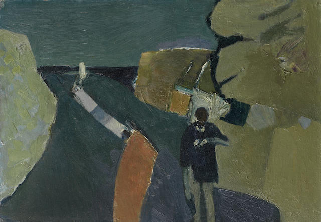 Keith Vaughan (British, 1912-1977) Road to the Sea 26 x 37 cm. (10 1/4 x 14 5/8 in.)