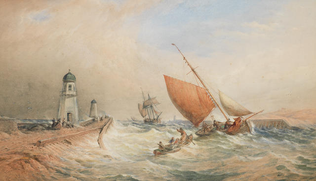 Thomas Sewell Robins (British, died 1880) Shipping off 2 lighthouses ?????????