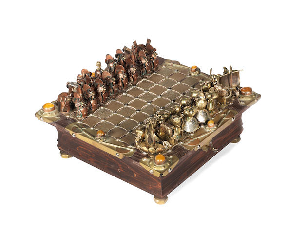A figural art metal chess set and board,  by Andrzej Nowakowscy, Warsaw, Poland,