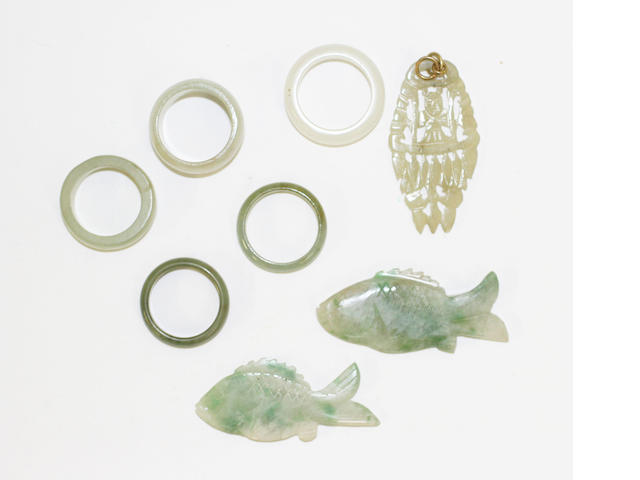 A small collection of jade jewellery, (8)
