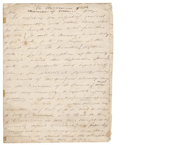 "BOWERS (ALEXANDER) Autograph manuscript of an address to ""The Chairman of the Chamber of Commerce Glasgow"", [c.1870]"