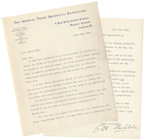 SHACKLETON (ERNEST) The Imperial Trans-Antarctic Expedition, prospectus, [1914]; with accompanying typed letter
