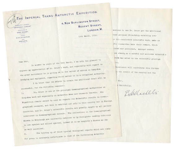 """SHACKLETON (ERNEST HENRY) Typed letter signed (""""E.H. Shackleton""""), to Charles E. Price, M.P., House of Commons, written in support of William Speirs Bruce's application for a government grant, and expressing his appreciation of Bruce's help, 19 March 1914"""