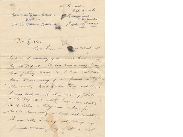 WILKINS (GEORGE H.) Series of 8 autograph letters signed, 1921-1922