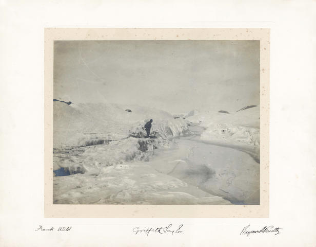 CAMPBELL GLACIER. 'Rough surface on Campbell Glacier', silver gelatin print, signed by Frank Wild, Griffith Taylor and Raymond Priestley