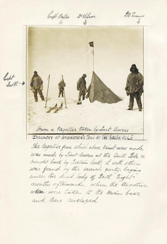 PONTING (HERBERT G.) 3 vol. associated with Ponting's film, a presentation inscr. from Kathleen Scott, and a vintage print by Bowers at the South Pole (3)