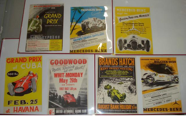A collection of seven motoring posters,