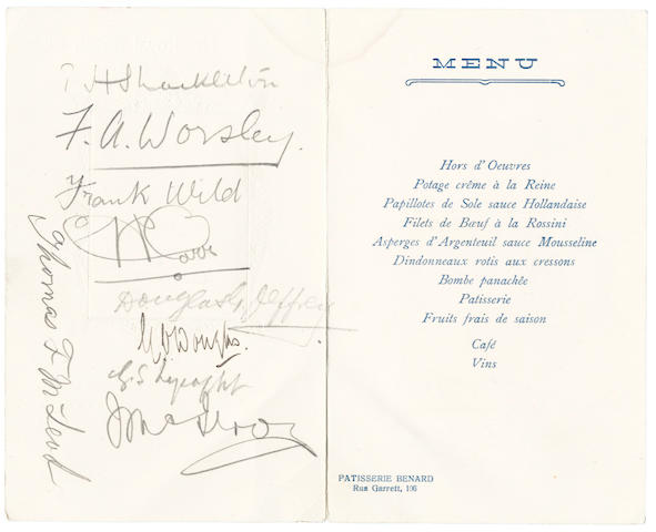 DINNER AT LISBON. Signed menu, Pass for Quest and Poem, 1921