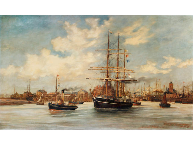 SHORT (RICHARD) 'Terra Nova' leaving Cardiff, 15 June 1910, oil painting