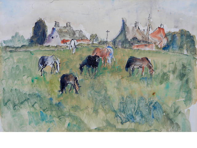 Maud Frances Eyston Sumner (South African, 1902-1985) Horses grazing with houses beyond