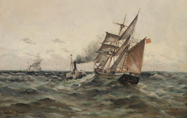 Charles Napier Hemy, RA RWS (British, 1841-1917) Towing out