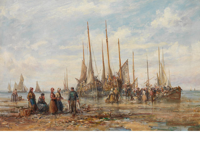 William Edward Webb (British, 1862-1903) Peel Harbour, Isle of Man; Unloading the catch